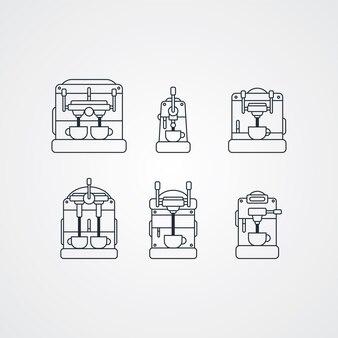 Thème de dessin animé de machine à café - illustration vectorielle