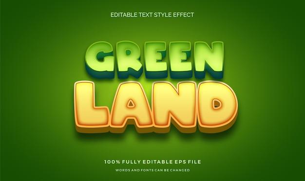 Thème de dessin animé vert mignon effet de style de texte modifiable pour enfants colorés