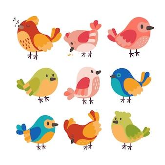 Thème dessiné à la main de la collection d'oiseaux