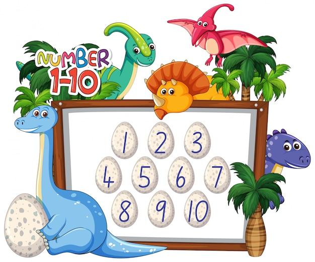 Thème de dinosaure de comptage mathématique