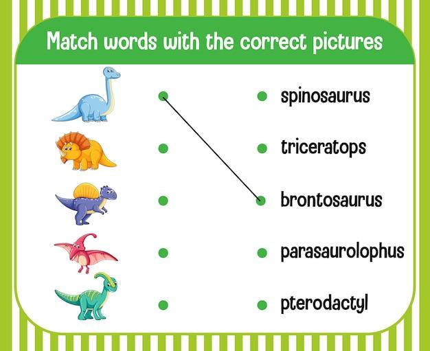 Thème de dinosaure de feuille de calcul de correspondance mot à image
