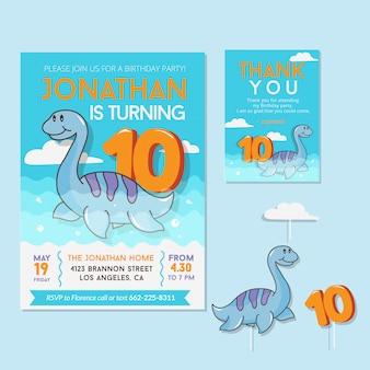 Thème de dinosaure mignon 10e carte d'invitation de fête d'anniversaire
