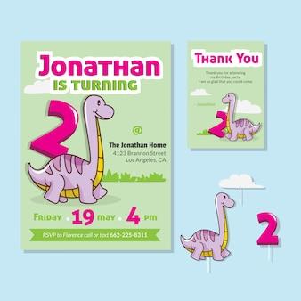 Thème de dinosaure mignon 2ème carte d'invitation de fête d'anniversaire