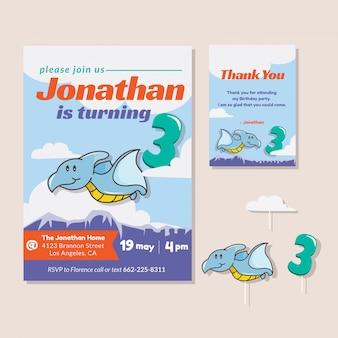 Thème de dinosaure mignon 3ème carte d'invitation de fête d'anniversaire