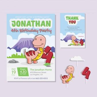 Thème de dinosaure mignon 4ème carte d'invitation de fête d'anniversaire