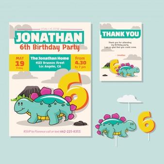 Thème de dinosaure mignon 6ème carte d'invitation de fête d'anniversaire