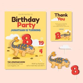Thème de dinosaure mignon 8e carte d'invitation de fête d'anniversaire
