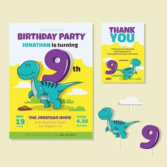 Thème de dinosaure mignon 9e carte d'invitation de fête d'anniversaire