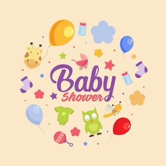 Thème de douche de bébé mignon animal et équipement