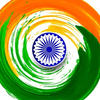 Thème de drapeau indien aquarelle tourbillon fond