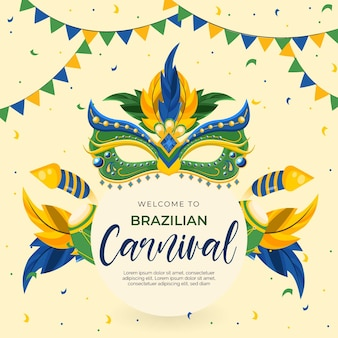 Thème du carnaval brésilien design plat avec des masques