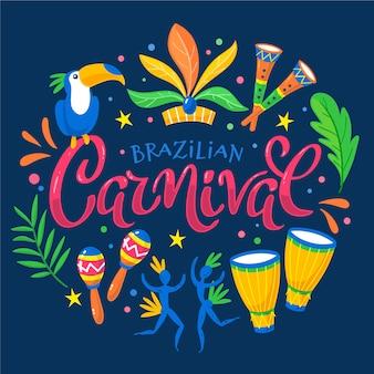 Thème du carnaval brésilien dessiné à la main