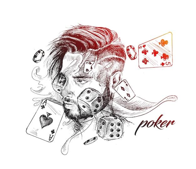 Thème du casino avec des jetons et des cartes de poker hand drawn sketch vector illustration