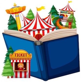 Thème du cirque à livre ouvert