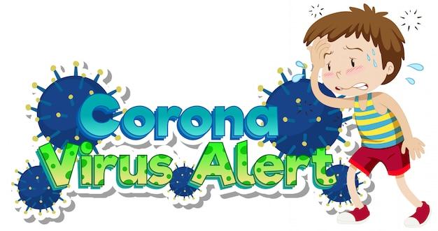 Thème du coronavirus avec un garçon malade souffrant de fièvre