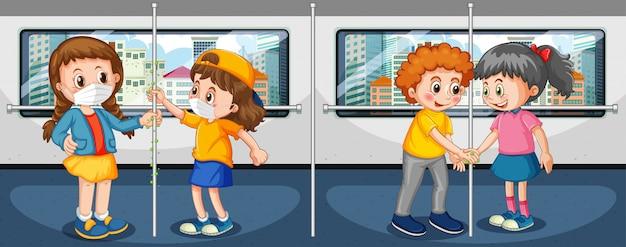 Thème du coronavirus avec des gens dans le métro touchant des choses avec des mains sales