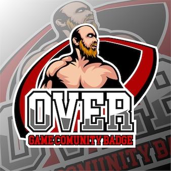 Thème du crâne chauve du logo de jeu esports