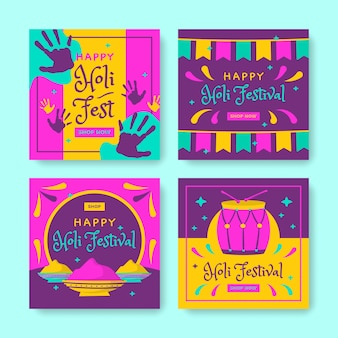Thème du festival holi pour la collection de messages instagram