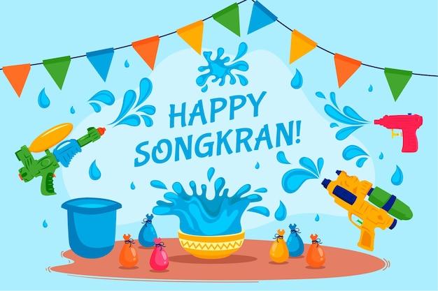 Thème du festival songkran design plat