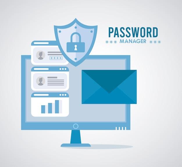Thème du gestionnaire de mot de passe avec cadenas dans le bouclier et l'illustration du bureau