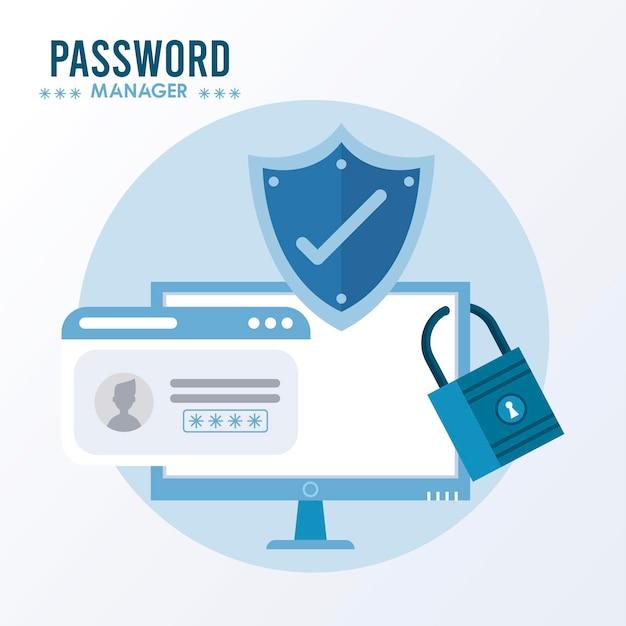 Thème du gestionnaire de mot de passe avec symbole de contrôle dans le bouclier et l'illustration du bureau