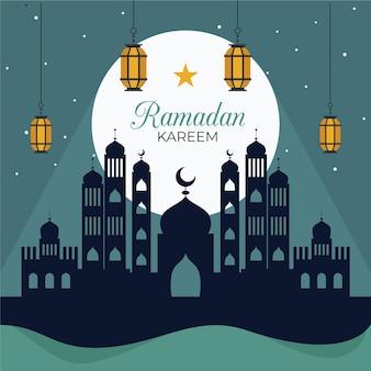 Thème du jour du ramadan design plat