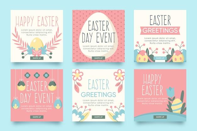 Thème du jour de pâques pour la collection de messages instagram