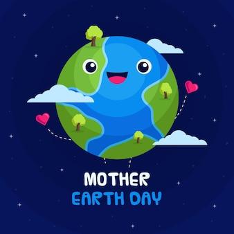 Thème du jour de la terre mère design plat