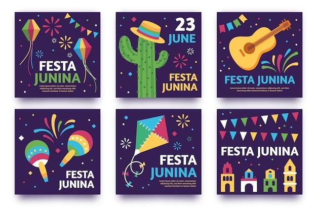 Thème du modèle de collection de cartes festa junina