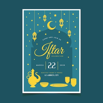 Thème du modèle d'invitation iftar