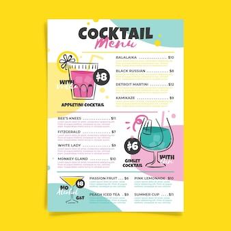 Thème du modèle de menu cocktail