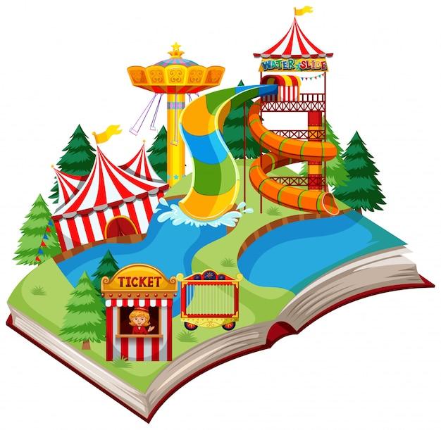 Thème du parc d'amusement à livre ouvert