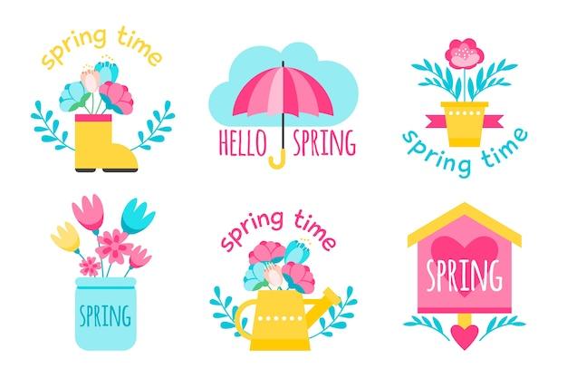 Thème du printemps pour la collection d'étiquettes