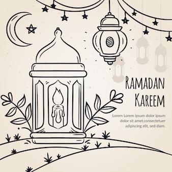Thème du ramadan dessiné à la main