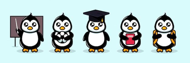 Thème de l'école de mascotte pingouin mignon