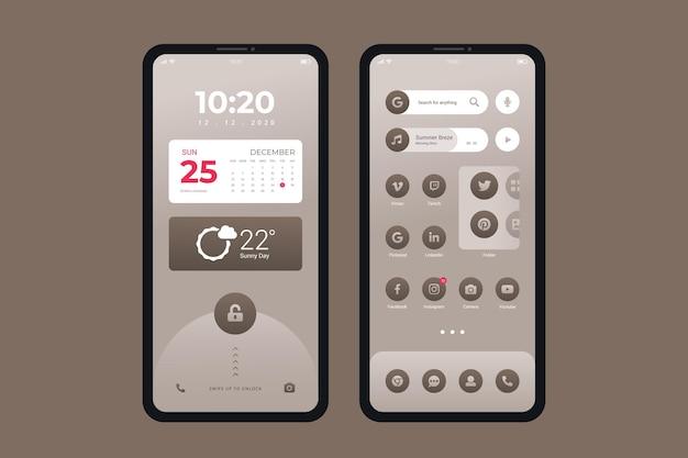 Thème élégant de l'écran d'accueil pour smartphone