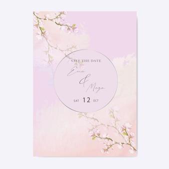 Thème élégant d'invitation de mariage de fleur de cerisier