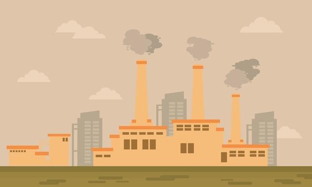 Thème de l'environnement de dessin animé de l'industrie vector
