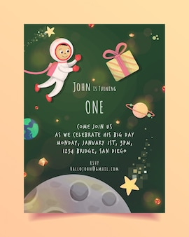 Thème espace invitation anniversaire gratuit