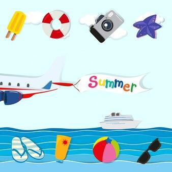 Thème d'été avec avion et autres objets