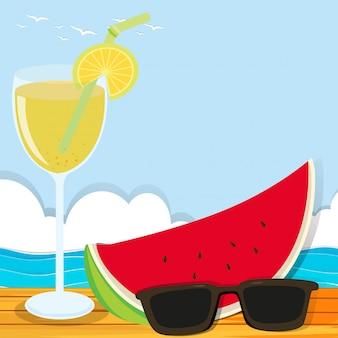 Thème d'été avec cocktail et pastèque