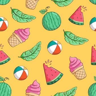 Thème d'été dessiné à la main avec pastèque, crème glacée, feuilles de bananier en modèle sans couture