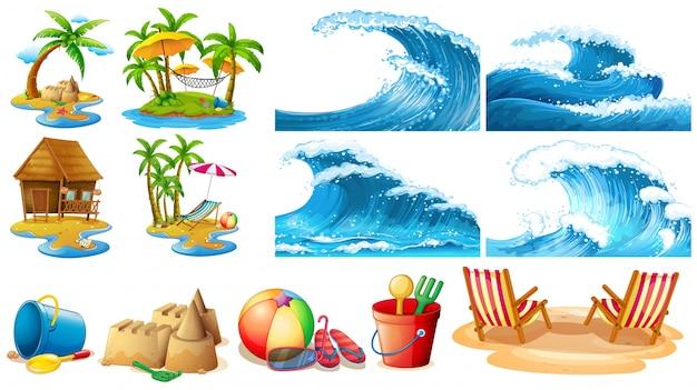 Thème de l'été avec des vagues bleues et des îles