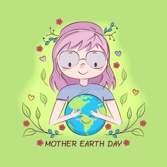 Thème de l'événement du jour de la terre mère dessiné à la main