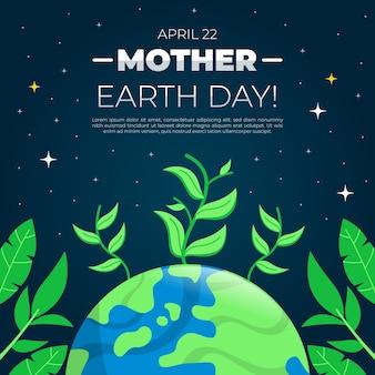 Thème de l'événement jour de la terre mère design plat