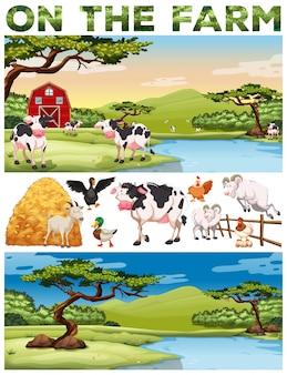 Thème de la ferme avec les animaux de la ferme et les terres agricoles