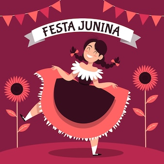 Thème festa junina dessiné à la main