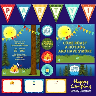 Thème de fête d'anniversaire de camping heureux