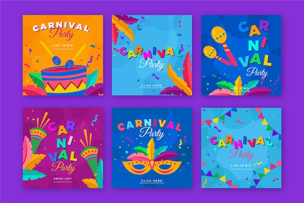 Thème de fête de carnaval pour la collection de messages instagram