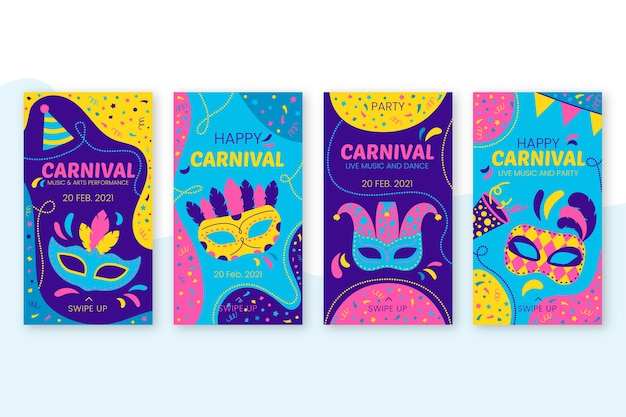 Thème de fête de carnaval pour des histoires instagram